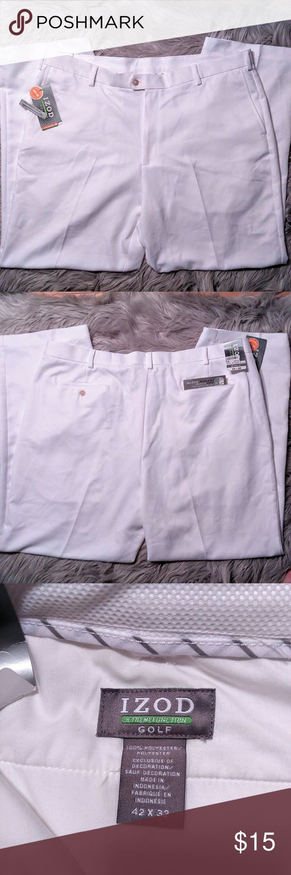 NWT white Izod Golf Pants NWT white Izod Golf Pants Sun protection and comfortable material will keep you cool on the green. Crisp white color brand new with tags. Size 42x32 with Upf 50. Izod Pants Chinos & Khakis