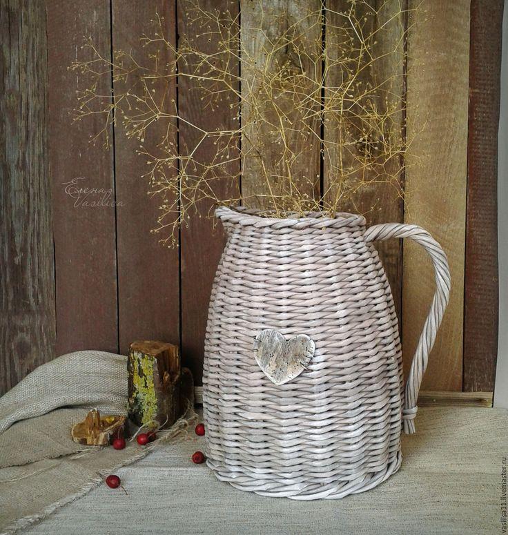 Купить Кувшин плетеный 'Сердешный' - кувшин старинный, ваза плетеная, лейка, для сада, для сухоцветов