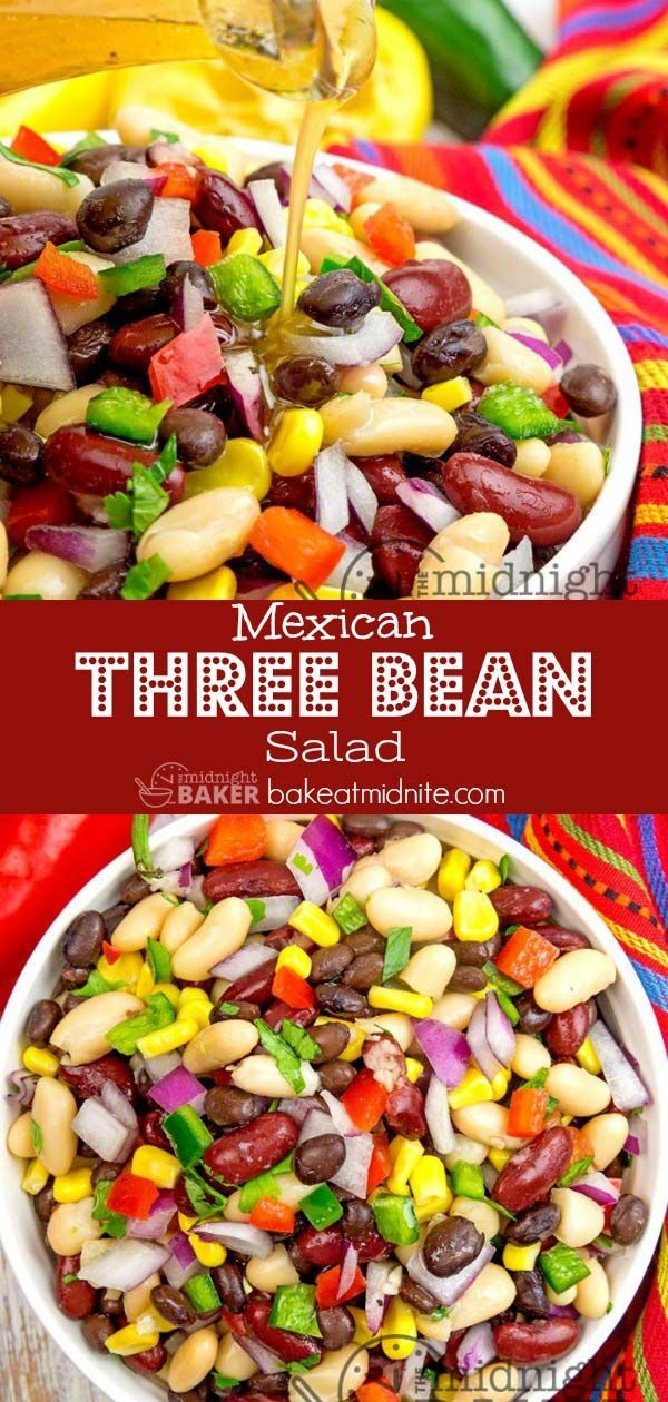 Simple Bean Salad With A Mexican Flair It S Also A Meatless And Vegan Meal Salads Healthy Vegan Bean Salad Recipes Vegetarian Recipes Healthy Bean Salad