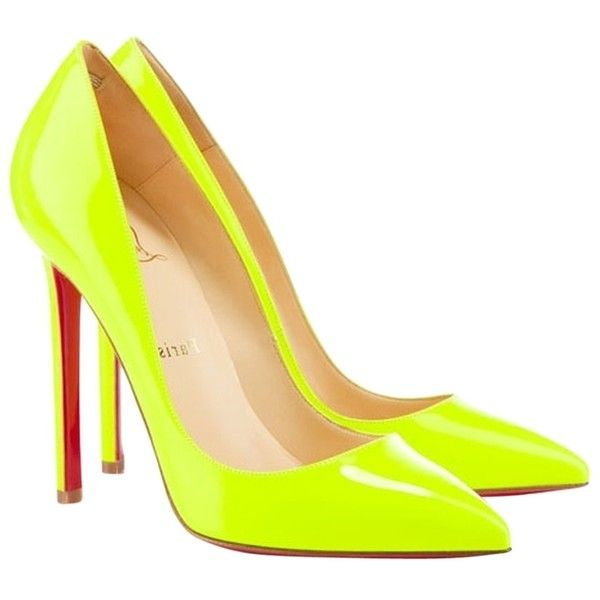 Pre-owned Christian Louboutin Pigalle 120 Fluo Neon Yellow Fluo Yellow... ($625) ❤ liked on Polyvore featuring shoes, pumps, fluo yellow, neon yellow pumps, christian louboutin, rose shoes, pre owned shoes and yellow shoes
