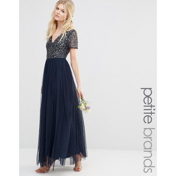 Maya Petite V Neck Maxi Tulle Dress With Tonal Delicate Sequins ($79) ❤ liked on Polyvore featuring dresses, navy, petite, sequin dresses, v neck maxi dress, navy blue dress, tulle cocktail dress and navy blue sequin dress
