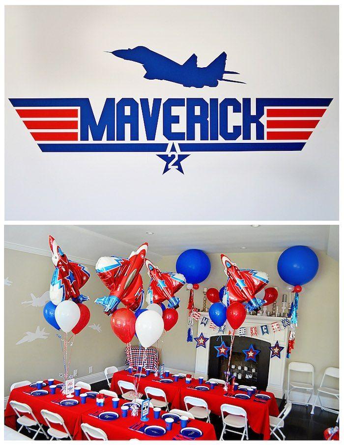 Backdrop + Guest Table from a Top Gun Themed Birthday Party via Kara's Party Ideas | KarasPartyIdeas.com (8)