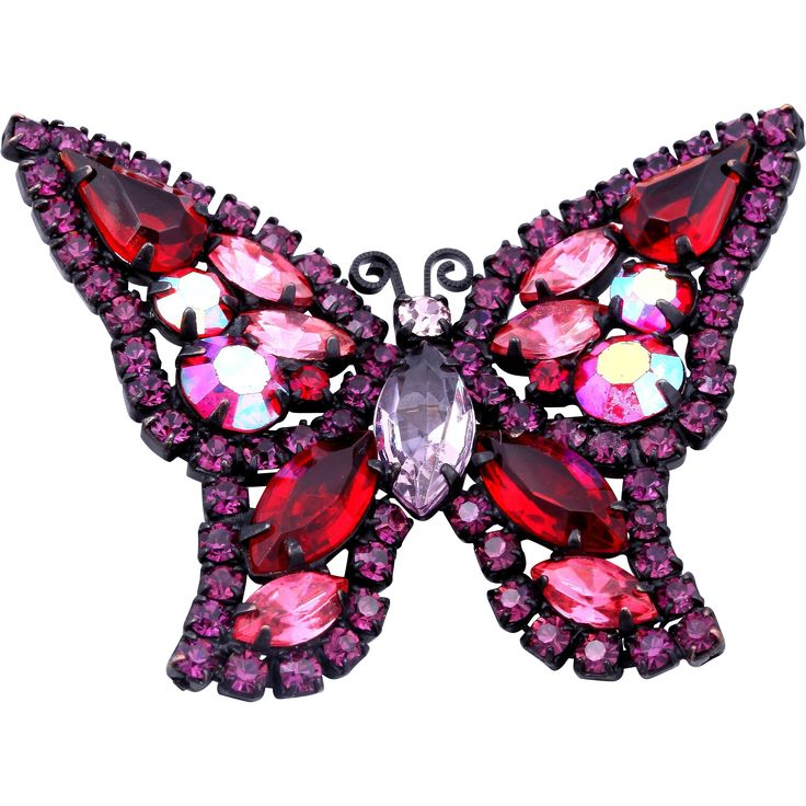 Here is an exquisite Weiss japanned butterfly pin!  Brilliant hues of red, pink and purple rhinestones decorate the well-crafted butterfly shape.  #vintagebeginshere at www.rubylane.com #vintagejewelry