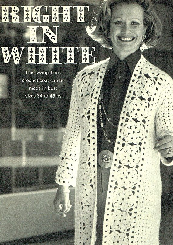 PDF Vintage Ladies Elegant Lacy Coat Crochet Pattern Wedding