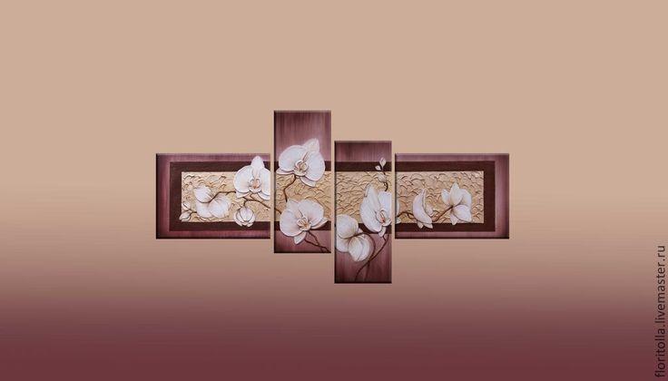 """Купить Объемная фреска """"Девять белых орхидей 2"""" - бордовый, объемная фреска, модульная картина"""