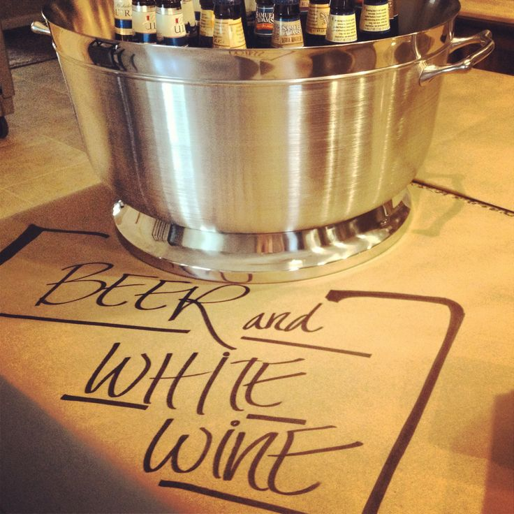 Roll of craft paper and use giant sharpies to mark the food and drinks
