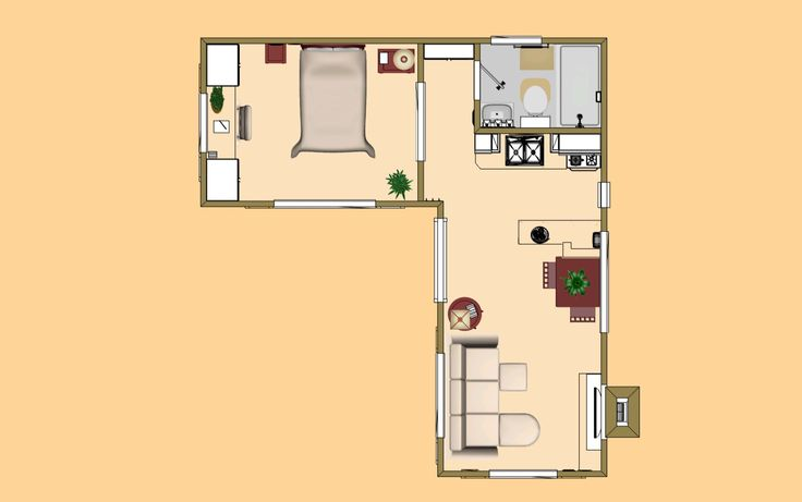 Floor Plan Of The 400 Sq Ft Small House Plans Pinterest