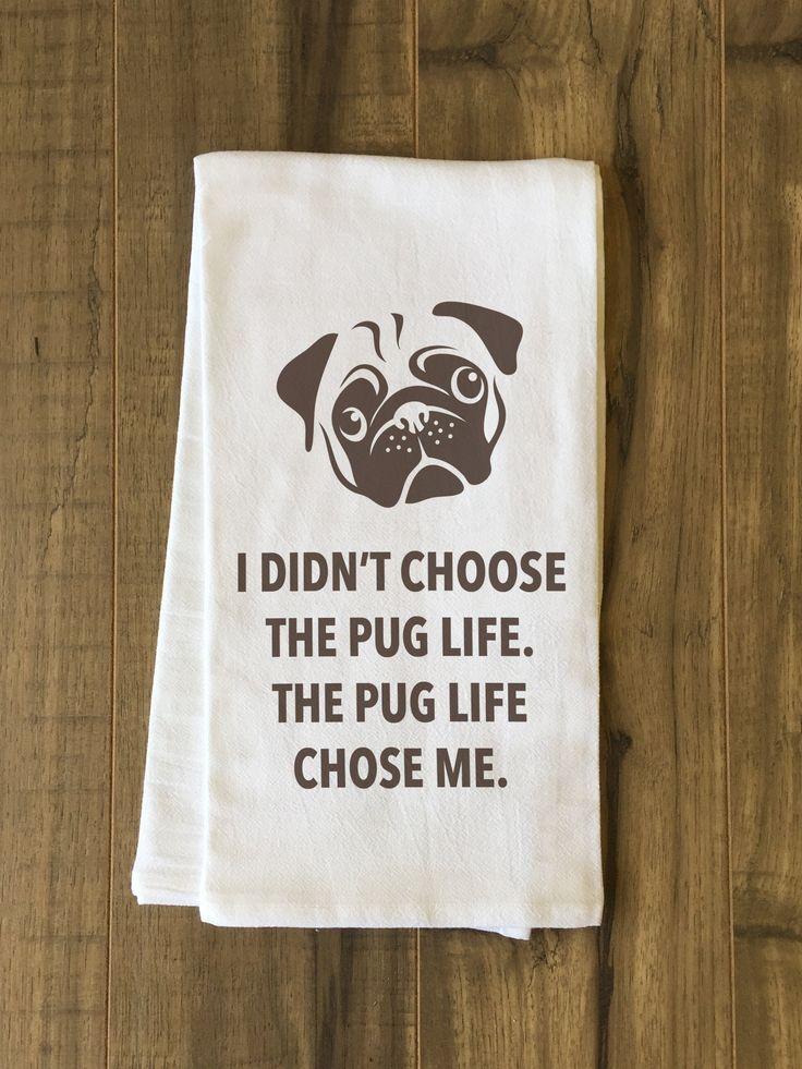 Pug Life Brown Tea Towel