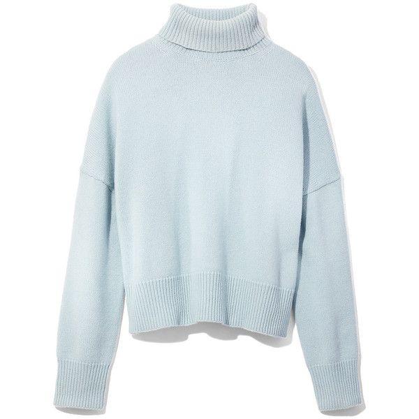 Nili Lotan Light Blue Turtleneck Sweater (1,910 PEN) ❤ liked on Polyvore featuring tops, sweaters, light blue, polo neck sweater, turtleneck sweater, turtle neck top, blue top and light blue top