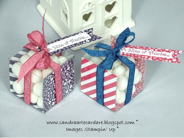 Sandra Ronald at ArteCardare, Independent UK Stampin' Up Demonstrator shares a video of how easy these Clear Tiny Treat boxes are to put together using Stampin' Up supplies.