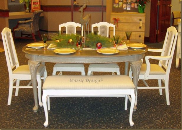 Antique French Dining Table and Chair set with Custom bench  Annie Sloan Chalk Paint, French Linen and Old White