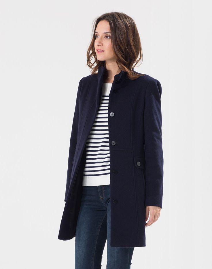 Manteau bleu marine en laine mélangée Olga Manteaux 1-2-3.fr