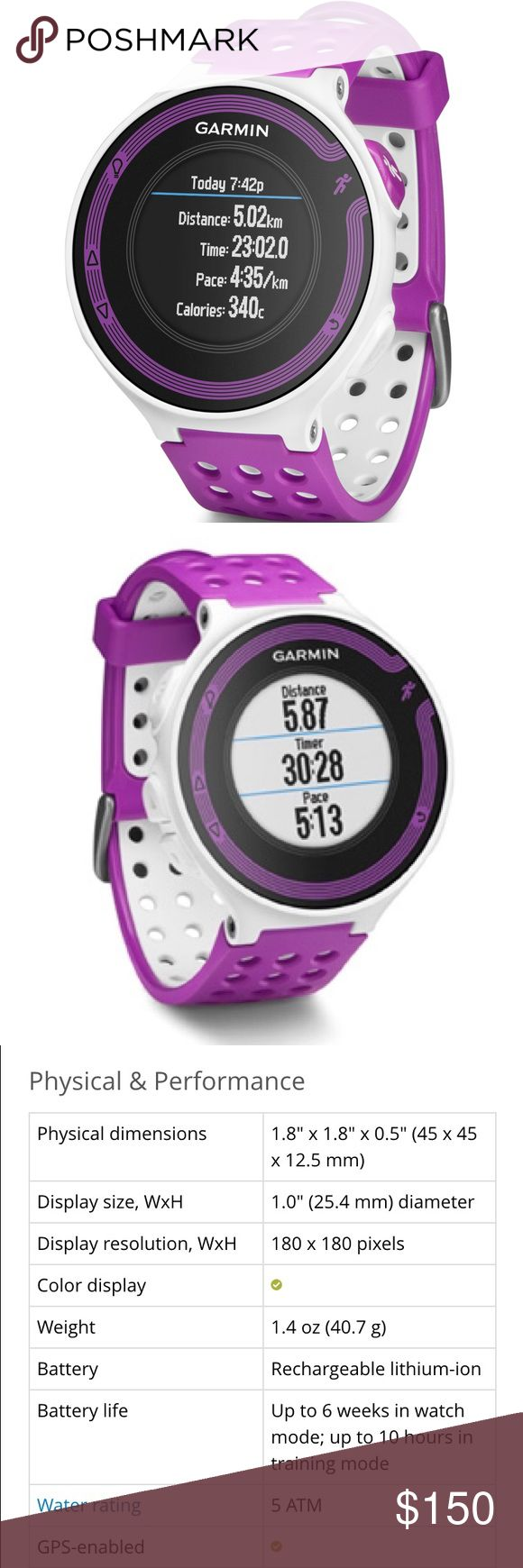 Garmin 220 Garmin 220 running GPS watch. Simple to use, extremely accurate, durable, and light weight. Garmin Accessories Watches