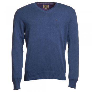 A dark blue cotton Magee jumper. We use melange yarns for colour and textural interest. Features include - v-neck, rib cuff and hems and a contrasting embroidered wolfhound on the chest.