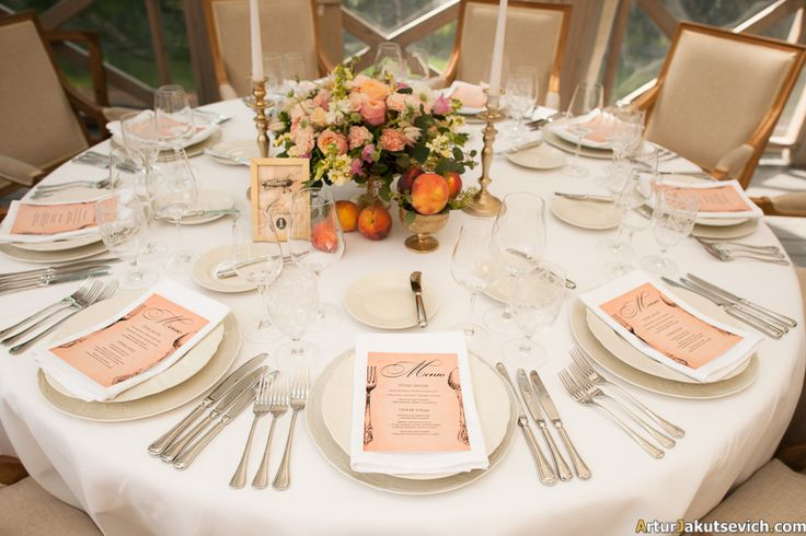 Outdoors Summer Wedding in Czech Republic Peach tone, centerpiece with bronze chandeliers, roses and peaches