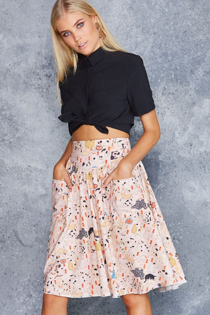 Kuniyoshi Cats Yoke Midi Skirt - LIMITED ($99AUD) by BlackMilk Clothing