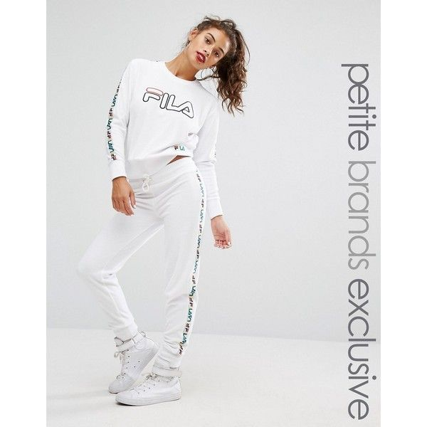 Fila Petite Velour Motif Tracksuit Bottom ($89) ❤ liked on Polyvore featuring activewear, activewear pants, white, petite activewear, track pants, petite activewear pants, fila and petite sportswear