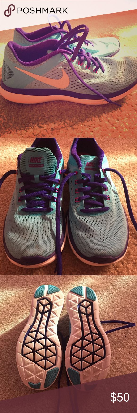 Nike Flex 2016 Run Like new 2016 Nike Flex Run shoes. Teal with purple accents. Worn once. Bought from DSW. Nike Shoes Athletic Shoes
