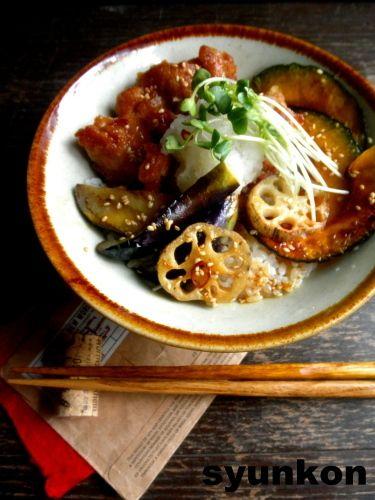 Chicken Nanban with Eggplant, Kabocha, and Renkon Donburi