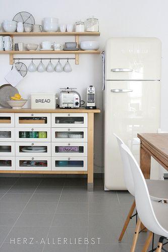 Smeg fridge, IKEA VARDE cabinet and shelf  Ikea needs to bring back the varde kitchen island.