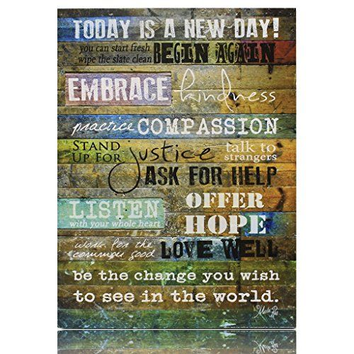 "Today is a New Day Wood Wall Art Print by Marla Rae 16"" x 12"" Creative Products Inc http://www.amazon.com/dp/B00LT5O23Q/ref=cm_sw_r_pi_dp_7mggvb1JQBY12"