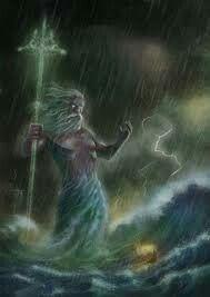 """Poseidon(Oudgrieks:Ποσειδῶν,Poseidỗn;Dorisch:Ποτειδαν,Poteidan,Ποσειδάων,Poseidáôn[1]) is in deGriekse mythologiede god die heerst over dezee, dewaterenen hun goden. Maar hij was ook een god van de paarden en - als """"Aard-Schudder"""" - vanaardbevingen. Het Romeinse equivalent isNeptunus. Hij wordt vaak afgebeeld met een drietand."""