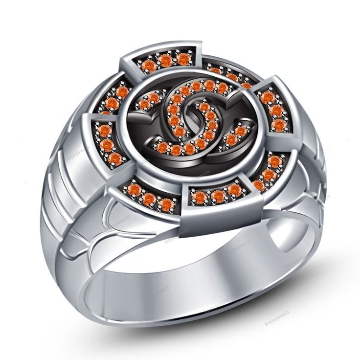 Men's Band Ring With Round Orange Sapphire in 14K White Gold Finish Size 7 To 14 #beijojewels #MensBandRing