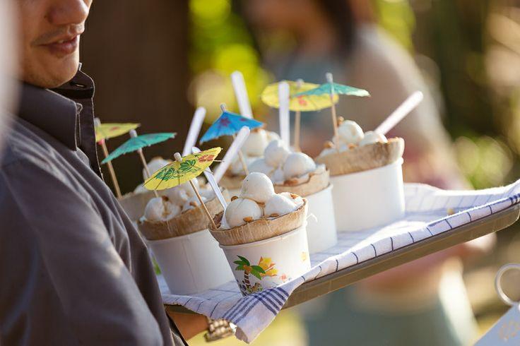 Post ceremony coconut icecream. Thailand beach wedding