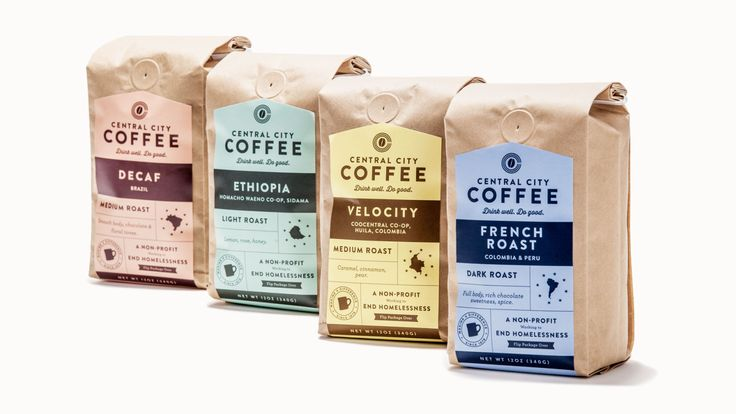 We designed Central City Concern's coffee bags so they would stand out amongst other organic coffee brands. Lean more.