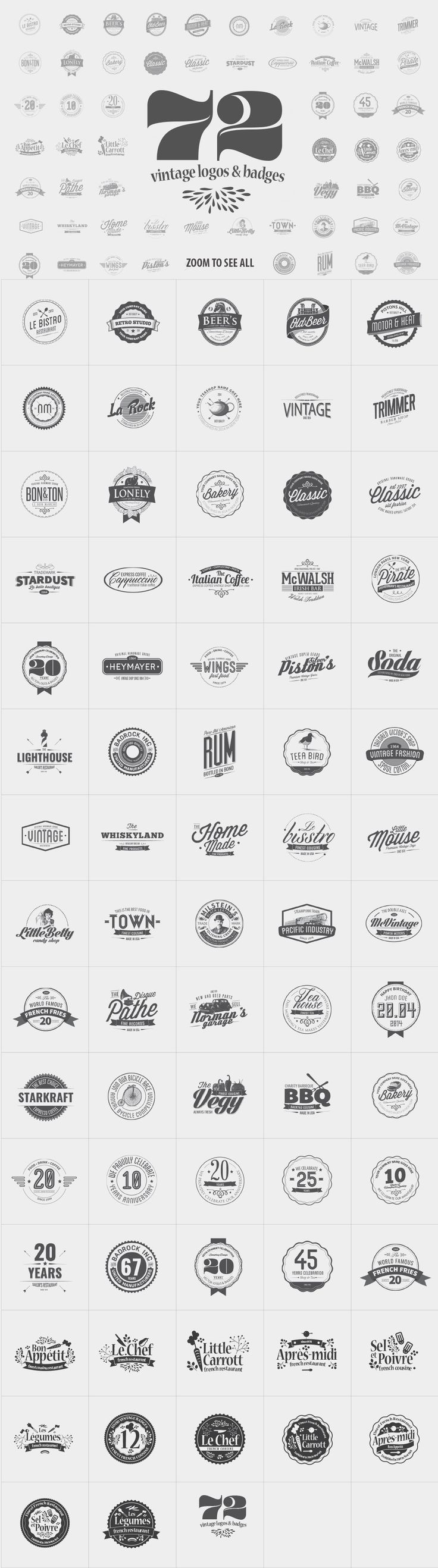 72 Vintage Logos & Badges by The Logo Shop on @creativemarket