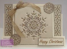 Stepper card using Crafter's Companion Die'sire Christmas Cut In Create-A-Card – Ornate Snowflakes die. Designed by Marie Jones #crafterscompanion