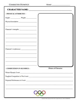 Character Winter Olympics: A timely activity to use with any piece of reading literature or for any historical figure. Updated to include ne...