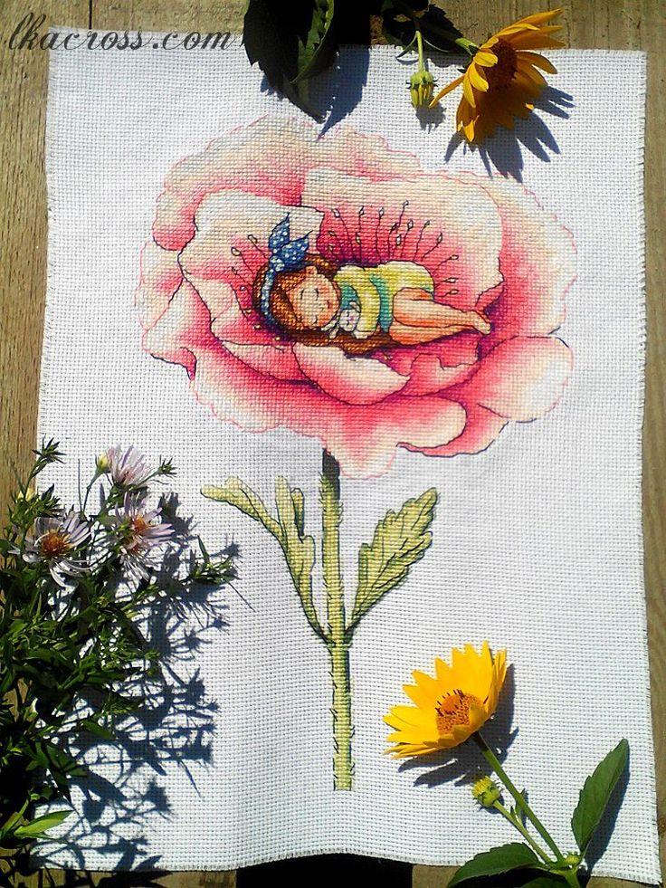 """Cross stitch pattern """"Thumbelina""""."""