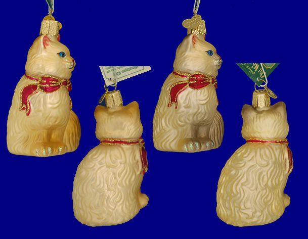 Гималайский кот стекло украшения - на Old World Рождество
