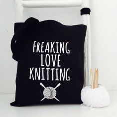 Freaking love knitting tote bag