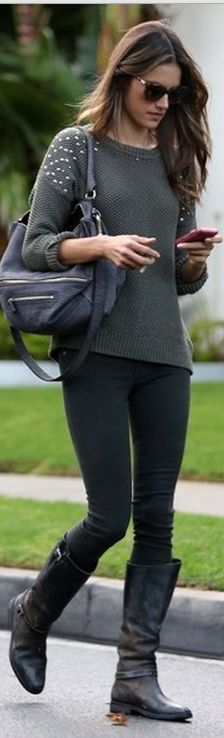 Who made Alessandra Ambrosio's gray leather handbag and green studded sweater?