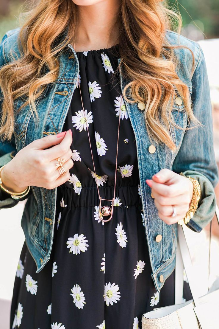 style your denim jacket with a fun printed dress this spring