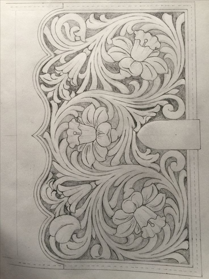 Leather tooling pattern for journal, book cover or clutch
