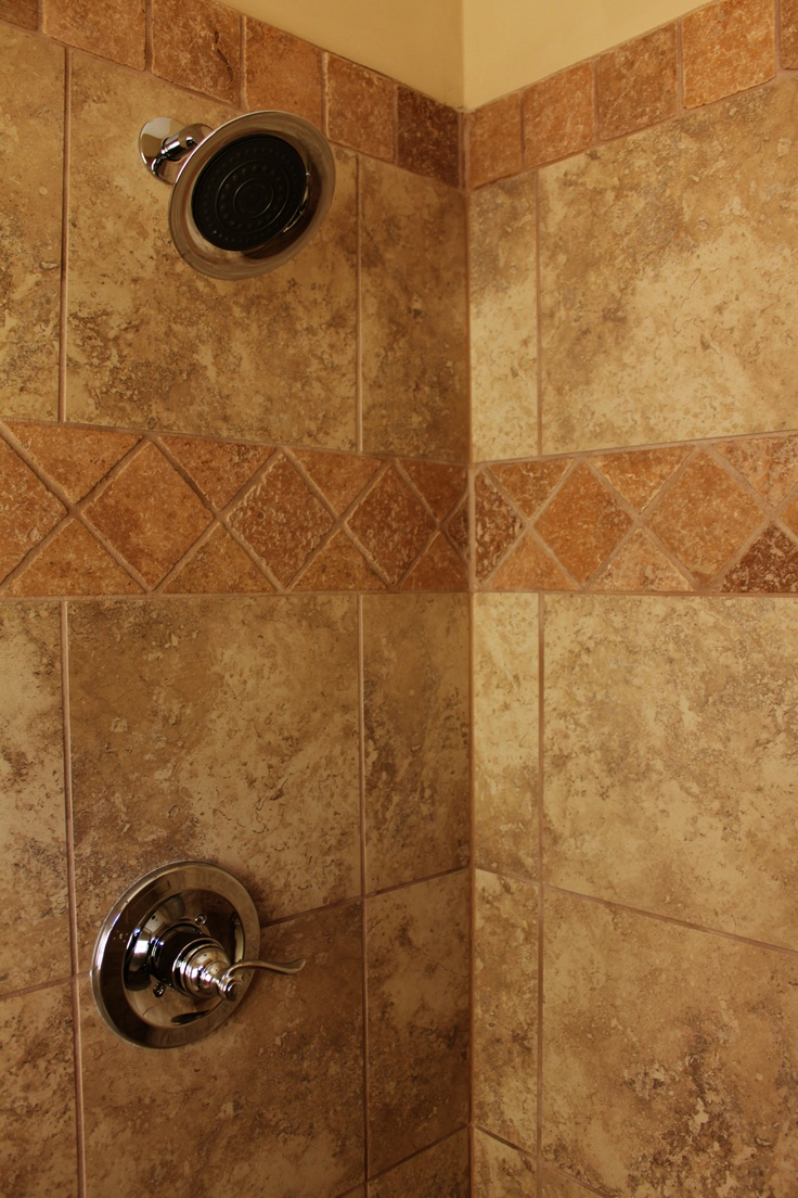 229 best my tuscan home images on pinterest tuscan style tuscan ceramic tile shower with tumbled marble feature