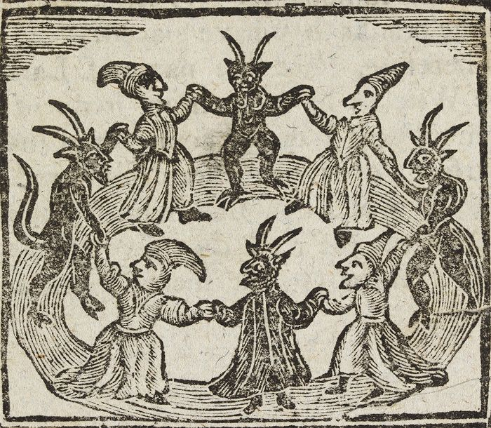 Woodcut depicting witches and demons, taken from a chap ...