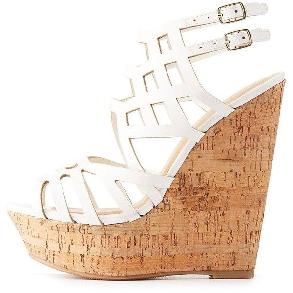Charlotte Russe Caged Cork Wedge Sandals ($25) ❤ liked on Polyvore featuring shoes, sandals, white, white wedge sandals, platform wedge shoes, caged sandals, white wedge shoes and cork sandals