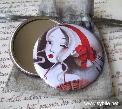 Specchio tascabile azzurro rosso di Sybile su Etsy