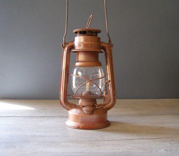 Brown Lantern Lamp Vintage rustic brown Railroad Lamp by MeshuMaSH, $38.00