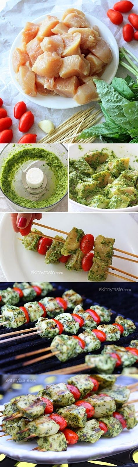 Grilled Pesto Chicken and Tomato Kebabs ~ Best Recipe Photos