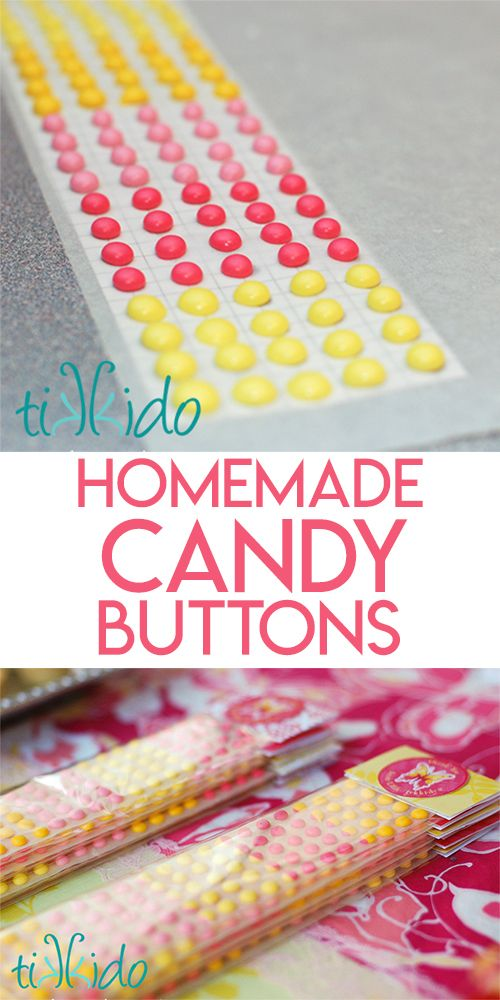 Tutorial for making homemade candy buttons, that classic, old-fashioned candy. Make in any color, to match any theme.