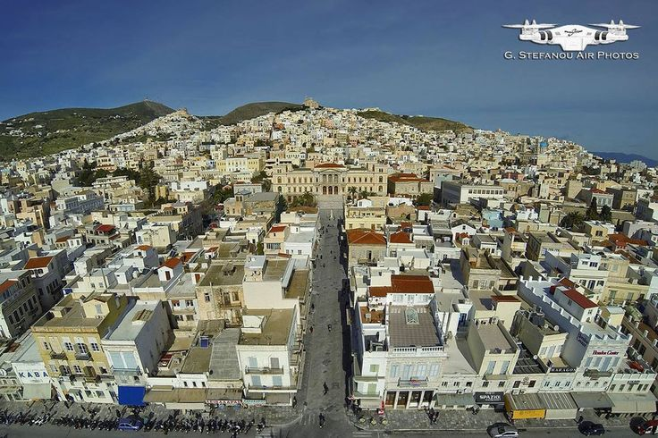 "Ermoupoli - the beautiful capital of Syros, located on the eastern side of the island. Ermoupoli is often called ""outdoor museum"" as it has a wealth of attractions that the visitor can enjoy, simply by walking through its small alleys.  #Greece #Syros #Terrabook #GreekIslands #Travel #Aegean #GreeceTravel #GreecePhotografy #GreekPhotos #Traveling #Travelling #Holiday #Summer"