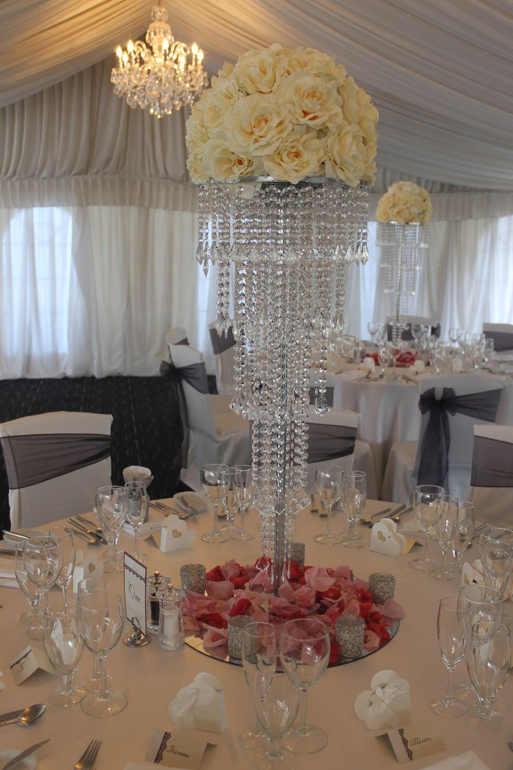 327 best gatsby centrepieces images on pinterest weddings crystal table chandelier centrepiece with silk flowers arubaitofo Image collections