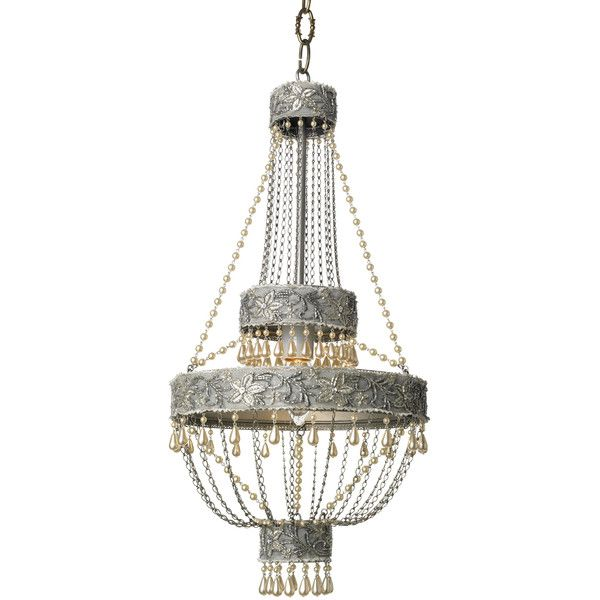 Canopy Designs Adele Chandelier ($1,295) ❤ liked on Polyvore featuring home, lighting, ceiling lights, lamps, chandelier, lights, grey chandelier, beaded chandelier, tiered chandelier and traditional chandeliers