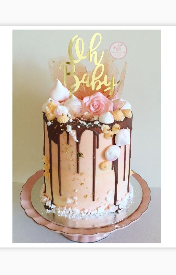 Double Barrel Baby Shower Drip Cake With Homemade Sugar