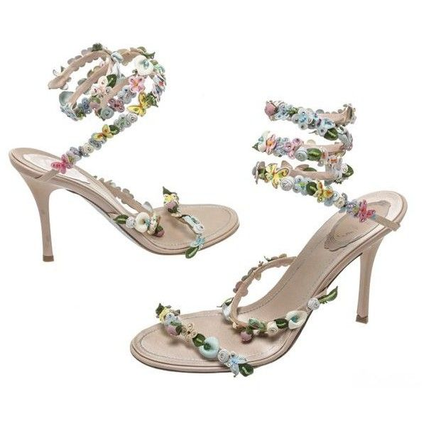 Pre-Owned Rene Caovilla Pink Multicolor Leather Floral and Butterfly... ($505) ❤ liked on Polyvore featuring shoes, sandals, pink, floral high heel sandals, wrap sandals, multi color sandals, pink high heel sandals and rene caovilla sandals
